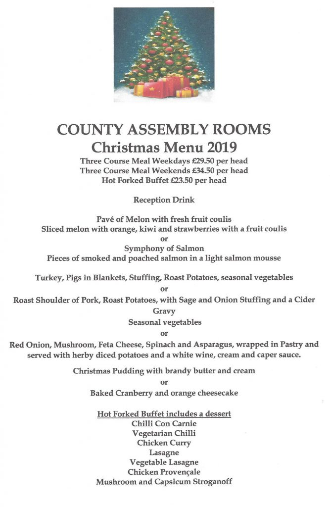 Christmas Menu.Christmas Party Menu The County Assembly Rooms